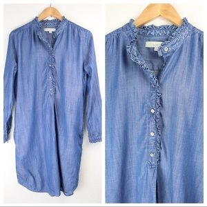 Loft Shirt Dress Denim Tencel Button Pullover